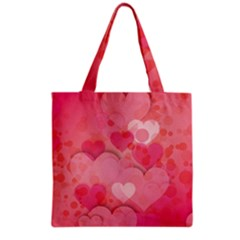 Hearts Pink Background Grocery Tote Bag