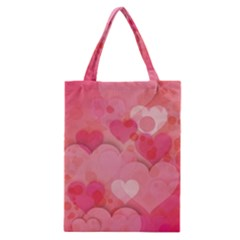 Hearts Pink Background Classic Tote Bag