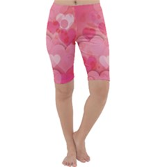 Hearts Pink Background Cropped Leggings