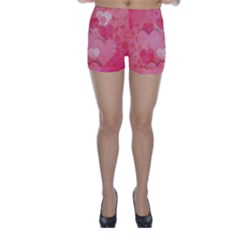 Hearts Pink Background Skinny Shorts