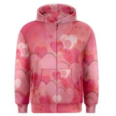 Hearts Pink Background Men s Zipper Hoodie