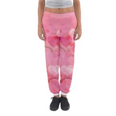 Hearts Pink Background Women s Jogger Sweatpants