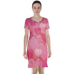 Hearts Pink Background Short Sleeve Nightdress