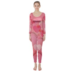 Hearts Pink Background Long Sleeve Catsuit