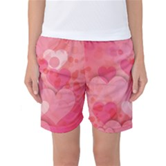 Hearts Pink Background Women s Basketball Shorts