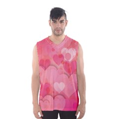 Hearts Pink Background Men s Basketball Tank Top