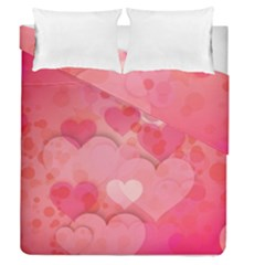 Hearts Pink Background Duvet Cover Double Side (queen Size)