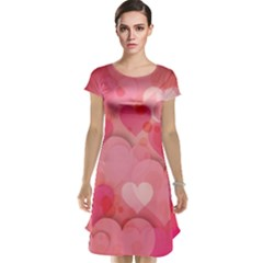 Hearts Pink Background Cap Sleeve Nightdress