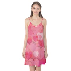 Hearts Pink Background Camis Nightgown