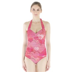 Hearts Pink Background Halter Swimsuit