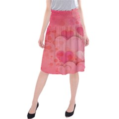 Hearts Pink Background Midi Beach Skirt