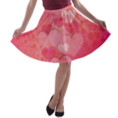 Hearts Pink Background A-line Skater Skirt