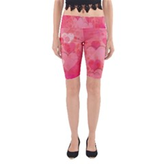 Hearts Pink Background Yoga Cropped Leggings