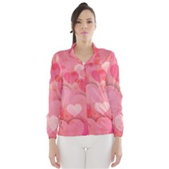 Hearts Pink Background Wind Breaker (women)