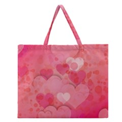 Hearts Pink Background Zipper Large Tote Bag