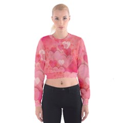 Hearts Pink Background Women s Cropped Sweatshirt