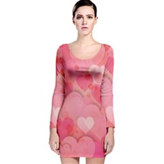 Hearts Pink Background Long Sleeve Velvet Bodycon Dress