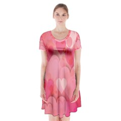 Hearts Pink Background Short Sleeve V Neck Flare Dress