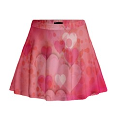 Hearts Pink Background Mini Flare Skirt