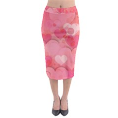Hearts Pink Background Midi Pencil Skirt