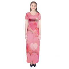 Hearts Pink Background Short Sleeve Maxi Dress