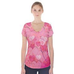Hearts Pink Background Short Sleeve Front Detail Top
