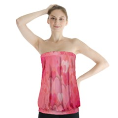 Hearts Pink Background Strapless Top