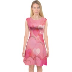 Hearts Pink Background Capsleeve Midi Dress