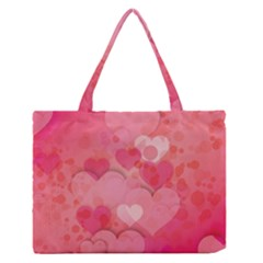 Hearts Pink Background Medium Zipper Tote Bag