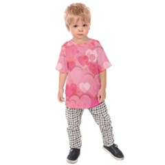 Hearts Pink Background Kids  Raglan Tee