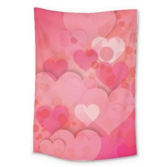 Hearts Pink Background Large Tapestry