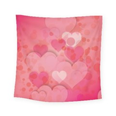 Hearts Pink Background Square Tapestry (small)