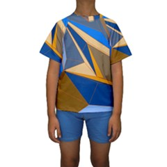 Abstract Background Pattern Kids  Short Sleeve Swimwear
