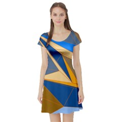 Abstract Background Pattern Short Sleeve Skater Dress