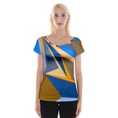 Abstract Background Pattern Women s Cap Sleeve Top