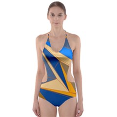 Abstract Background Pattern Cut Out One Piece Swimsuit
