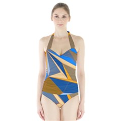 Abstract Background Pattern Halter Swimsuit