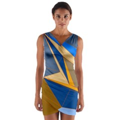 Abstract Background Pattern Wrap Front Bodycon Dress