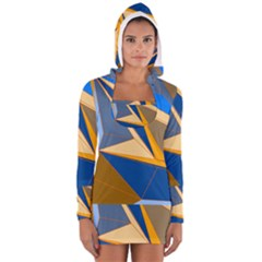 Abstract Background Pattern Women s Long Sleeve Hooded T Shirt
