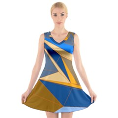 Abstract Background Pattern V Neck Sleeveless Skater Dress