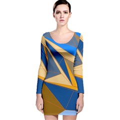 Abstract Background Pattern Long Sleeve Velvet Bodycon Dress