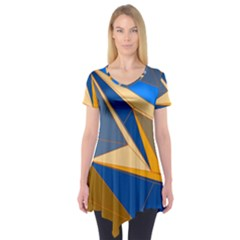 Abstract Background Pattern Short Sleeve Tunic