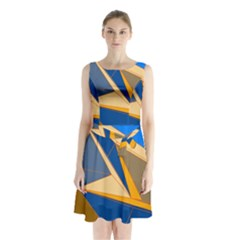 Abstract Background Pattern Sleeveless Chiffon Waist Tie Dress