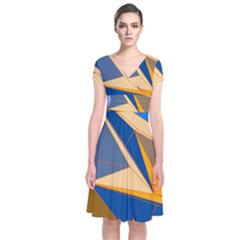 Abstract Background Pattern Short Sleeve Front Wrap Dress