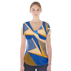 Abstract Background Pattern Short Sleeve Front Detail Top