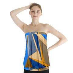 Abstract Background Pattern Strapless Top