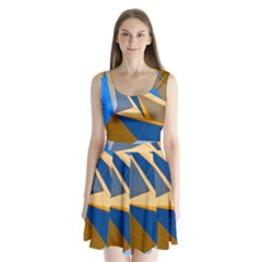 Abstract Background Pattern Split Back Mini Dress