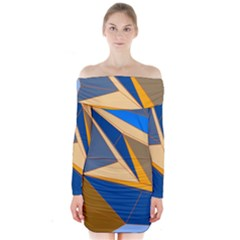 Abstract Background Pattern Long Sleeve Off Shoulder Dress