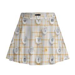 Icon Media Social Network Mini Flare Skirt