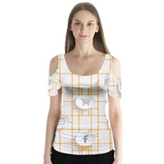 Icon Media Social Network Butterfly Sleeve Cutout Tee